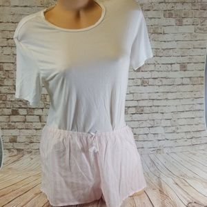 Victoria Secret Pink & White Pajama Set